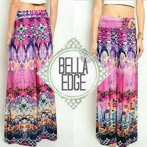Fuschia pink abstract floral palazzo pants